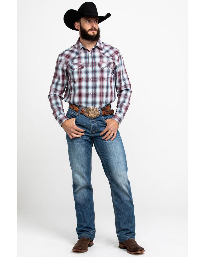 Cody James Men's MC Calister Med Plaid Long Sleeve Western Shirt - Tall , Blue/red, hi-res