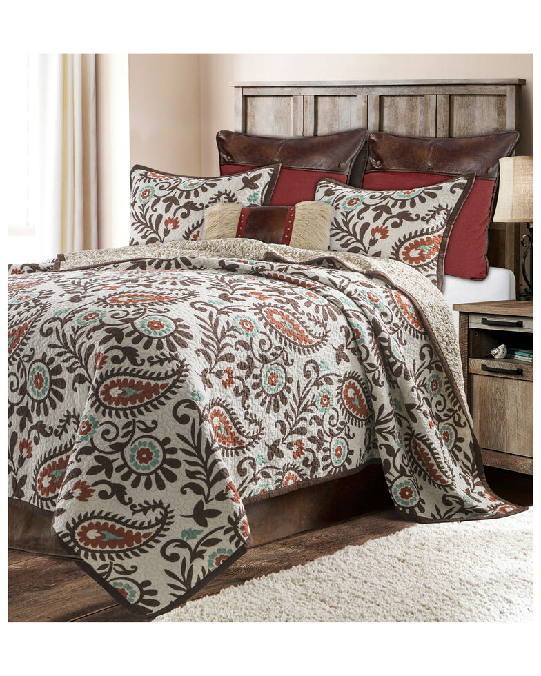HiEnd Accents Rebecca Full/Queen Quilt Set, Chocolate, hi-res