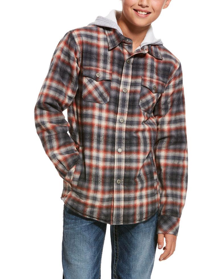 Ariat Boys' Kemper Flannel Hoodie Jacket , Multi, hi-res