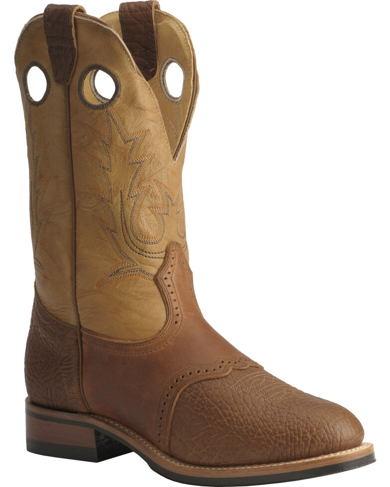 "Boulet Men's 12"" Saddle Vamp Super Roper Boots, Bay Apache, hi-res"