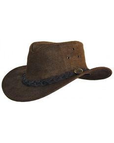 Jacaru Men's Gabba Leather Outback Hat, Tobacco, hi-res