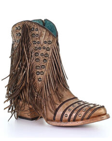 Corral Women's Camel Fringe Fashion Booties - Round Toe, Camel, hi-res