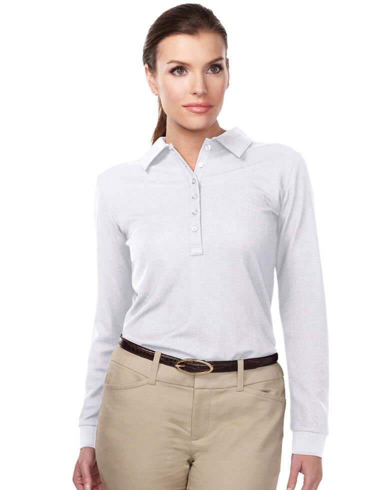 Tri-Mountain Women's White 3X Stamina Long Sleeve Polo - Plus, White, hi-res