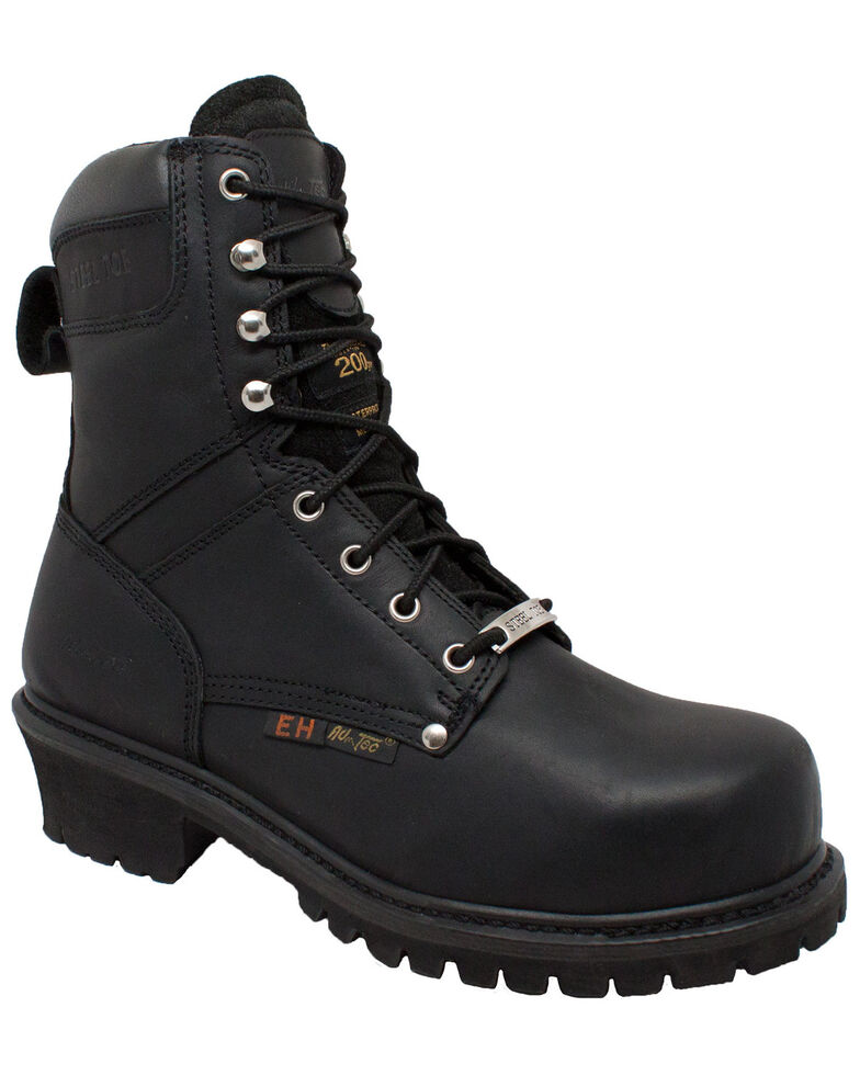 Ad Tec Men's Super Logger Work Boots - Steel Toe, Black, hi-res