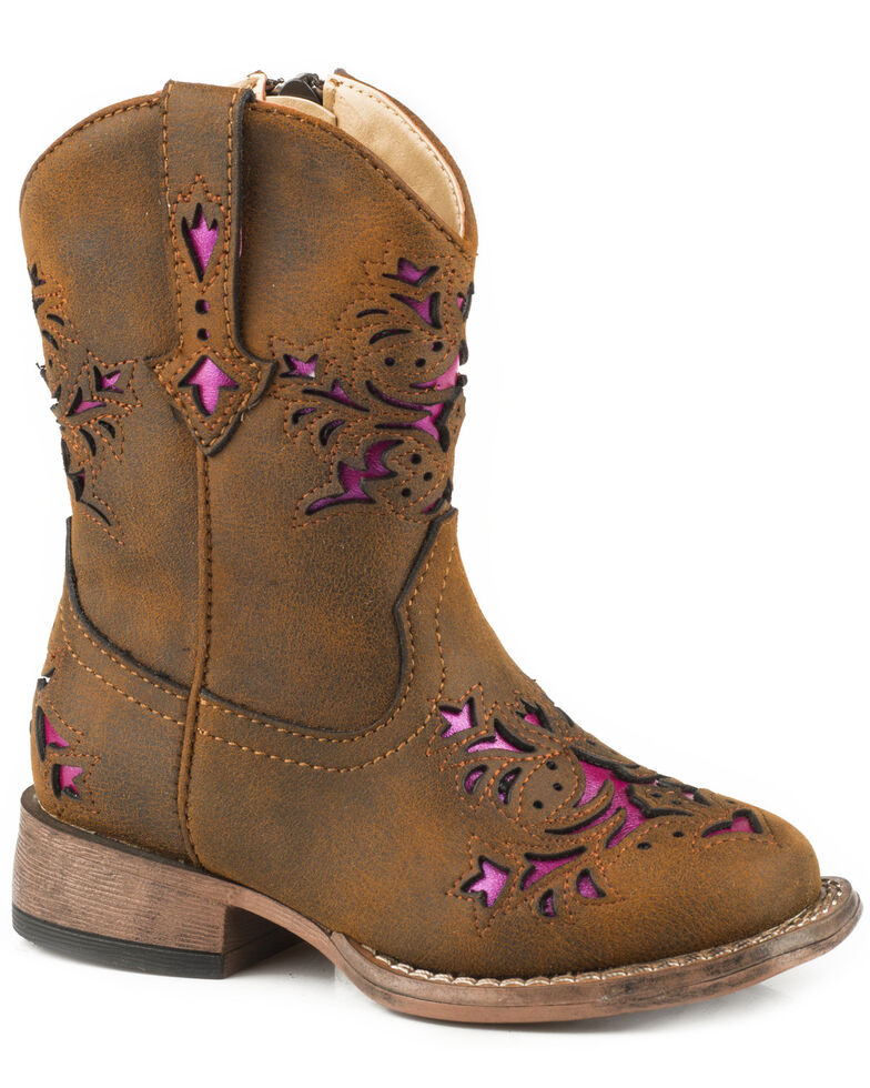 Roper Toddler Girls' Lola Brown Metallic Underlay Cowgirl Boots - Square Toe, Brown, hi-res