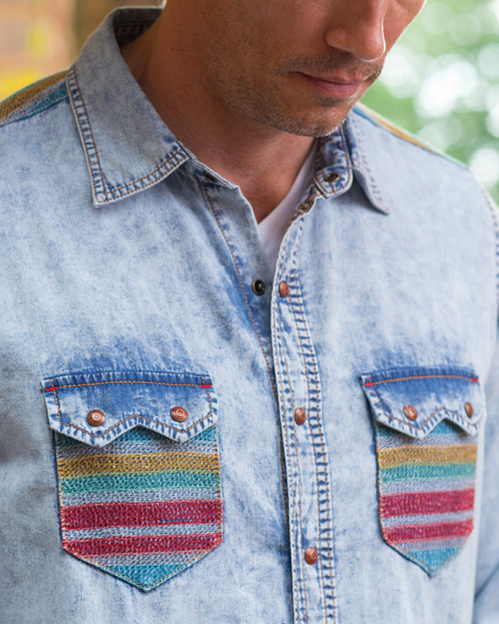 Ryan Michael Men's Indigo Serape Embroidered Shirt , Indigo, hi-res