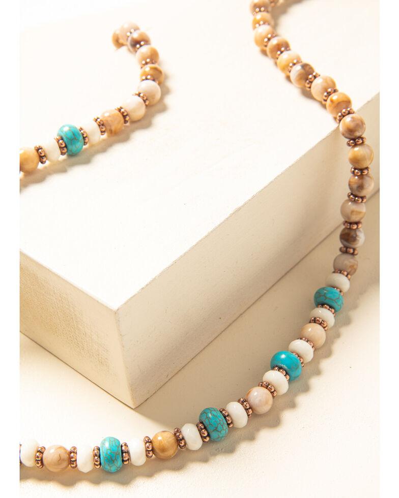 Shyanne Women's Desert Dreams Beaded Crescent Necklace, Rust Copper, hi-res