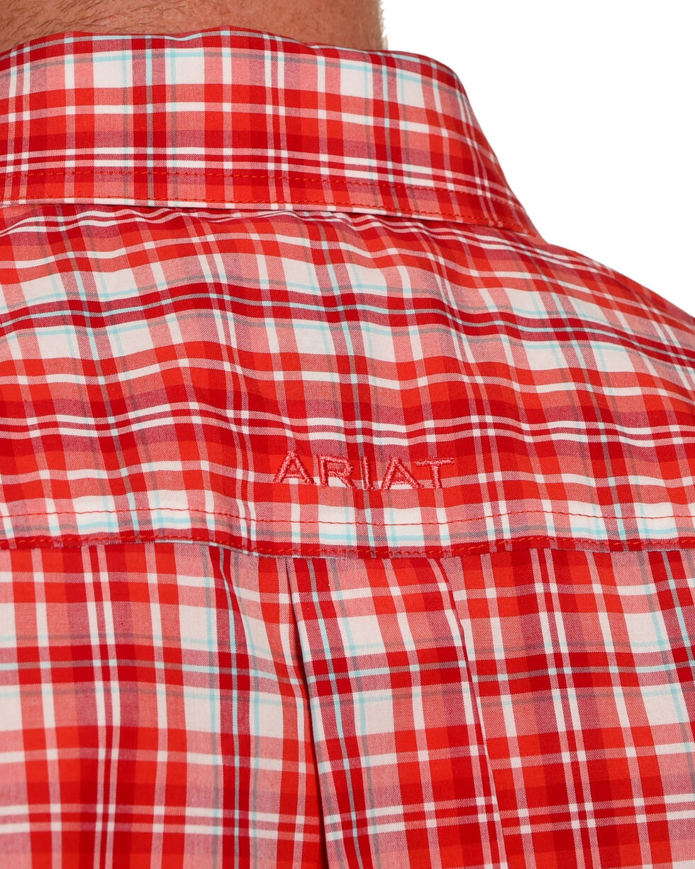 Ariat Men's Red Graham Plaid Short Sleeve Shirt , Red, hi-res