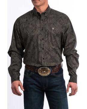 Cinch Men's Black Paisley Print Long Sleeve Western Shirt - Big & Tall , Black, hi-res