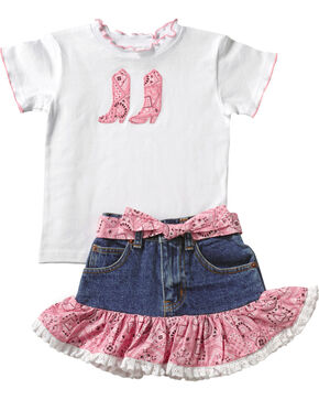 Kid's Korral Girl's Paisley Ruffle Shirt and Skirt Set, Pink, hi-res