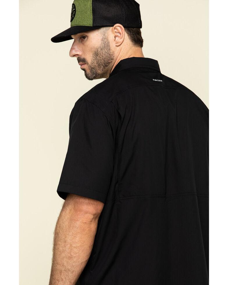 Ariat Men's Ventek Short Sleeve Black Western Shirt, Black, hi-res