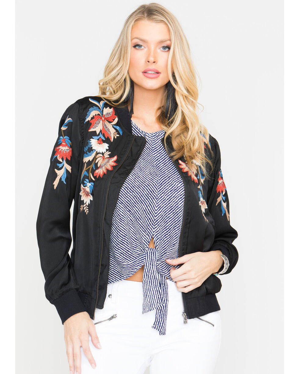 Miss Me Women's Floral Embroidered Jacket, , hi-res
