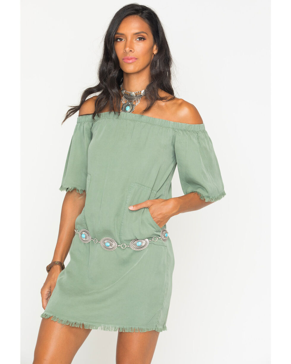 Glam Women's Army Unfinished Hem Off The Shoulder Dress, Green, hi-res