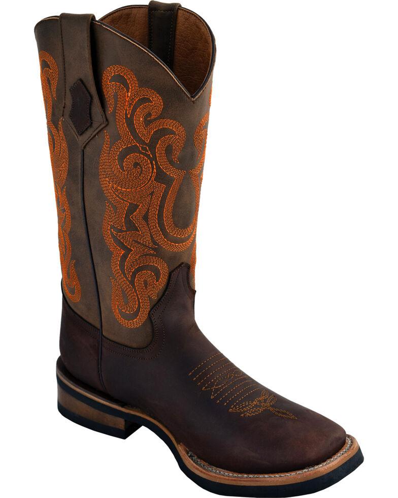 Ferrini Men's Maverick Dark Chocolate Cowboy Boots - Square Toe, Chocolate, hi-res