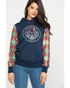 HOOey Women's Black Ponderosa Diamond Sleeve Hoodie, Navy, hi-res