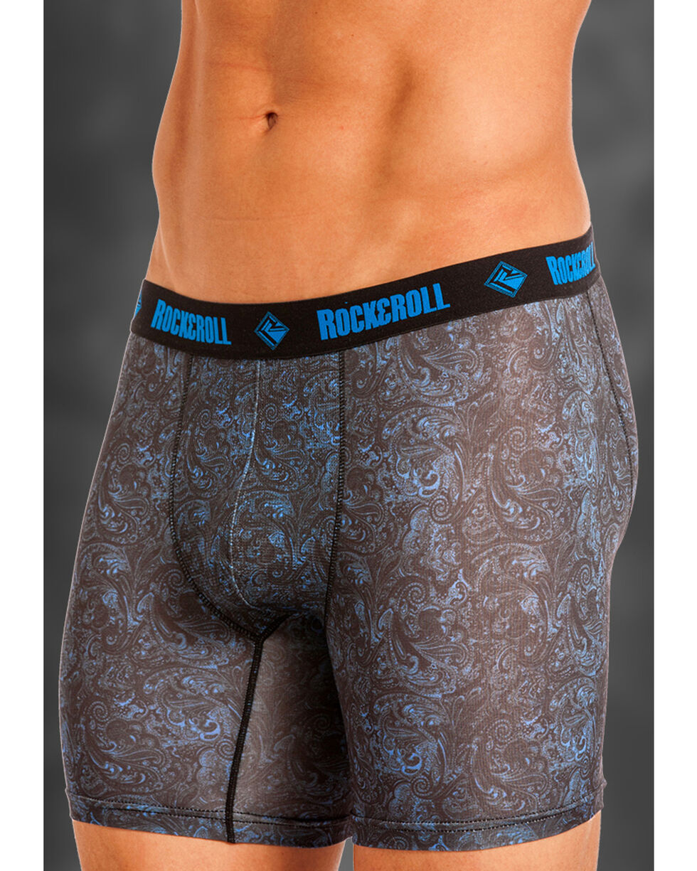 "Rock and Roll Cowboy Men's Blue Paisley 6"" Boxer Briefs , Grey, hi-res"