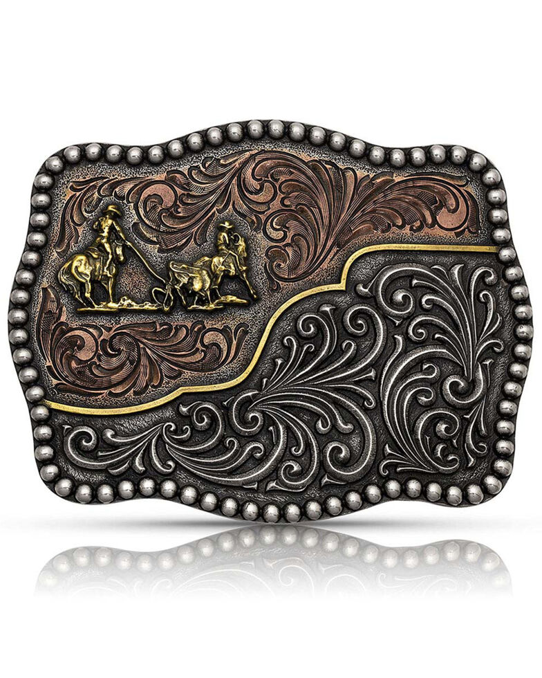 Montana Silversmiths Men's Tri-Color Filigree Road Team Roper Attitude Buckle, Bronze, hi-res