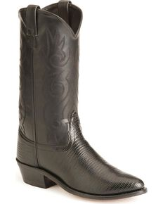 Old West Lizard Printed Cowboy Boots - Medium Toe, Black, hi-res