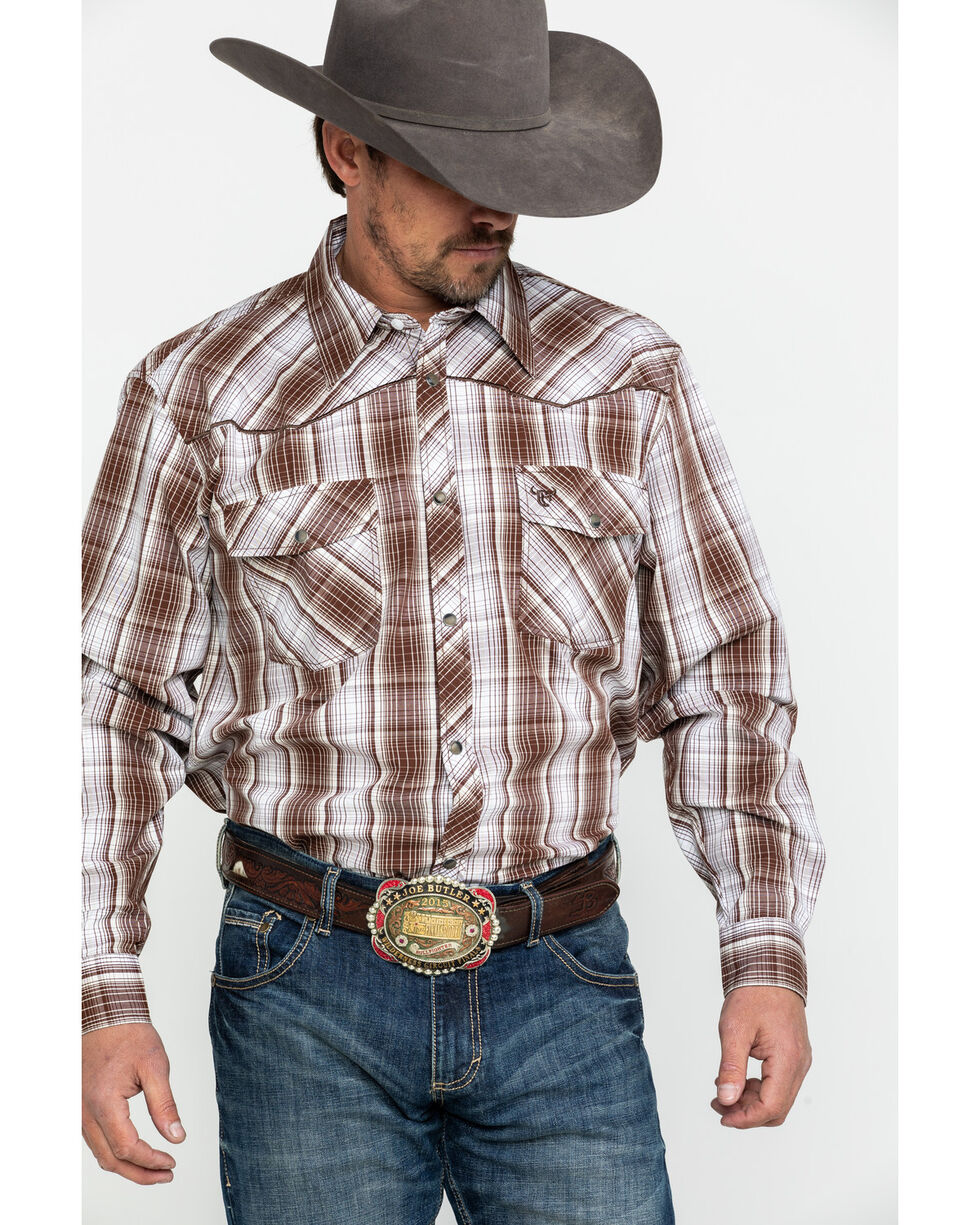 Cowboy Hardware Men's Fellow Plaid Long Sleeve Western Shirt , Chocolate, hi-res