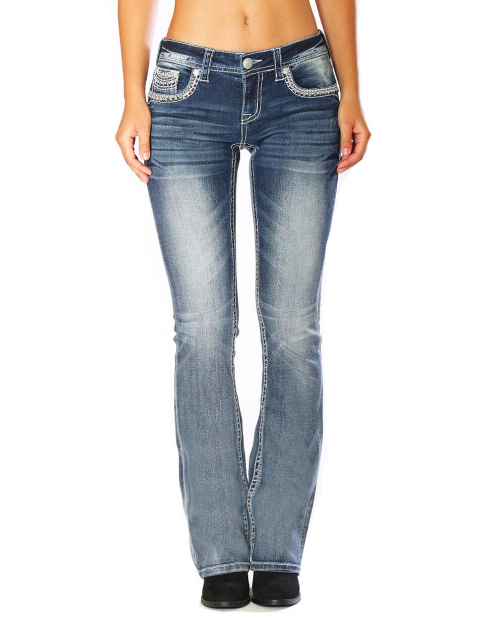 Grace In LA Women's Tribal Low Rise Boot Cut Jeans, Blue, hi-res