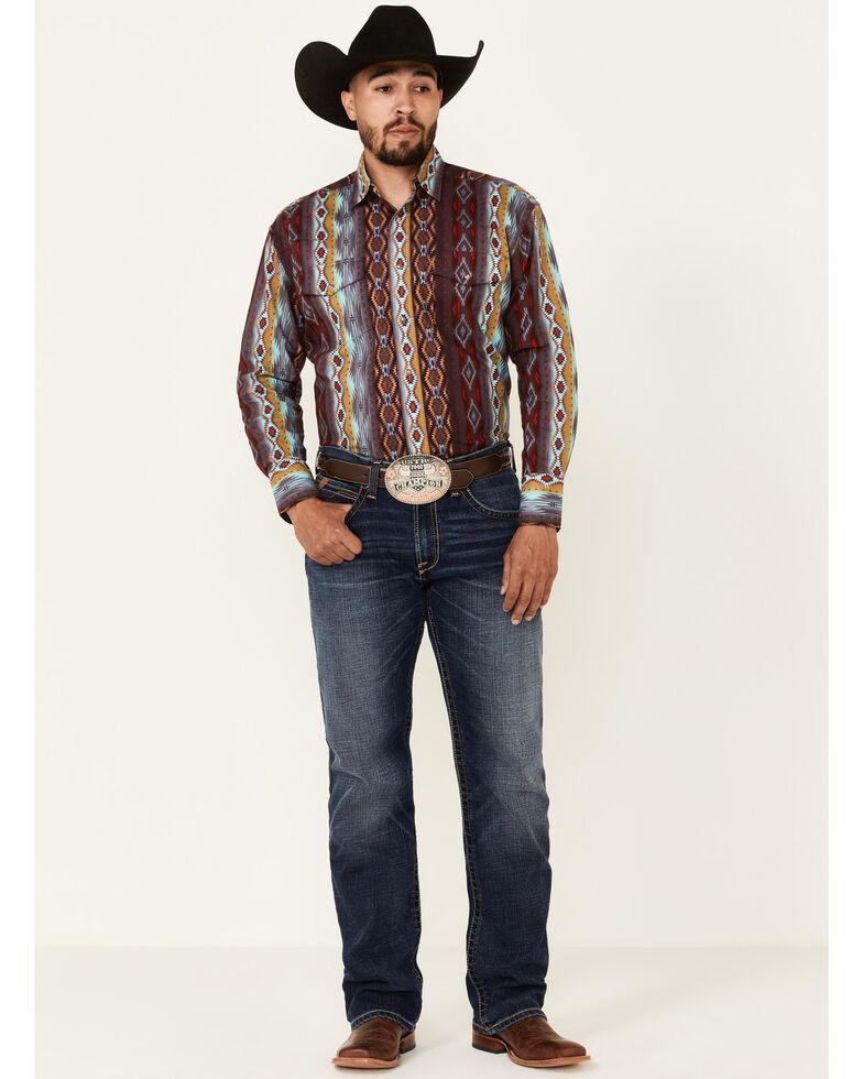 Wrangler Men's Multi Aztec Checotah Print Long Sleeve Snap Western Shirt , Multi, hi-res
