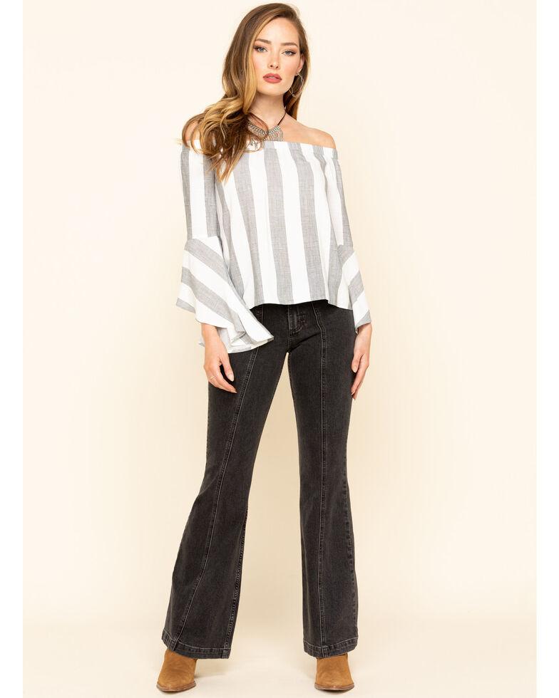 Shyanne Women's Stripe Off The Shoulder Bell Sleeve Top, Black, hi-res