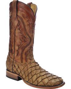 Corral Men's Pirarucu Exotic Boots, Antique Saddle, hi-res