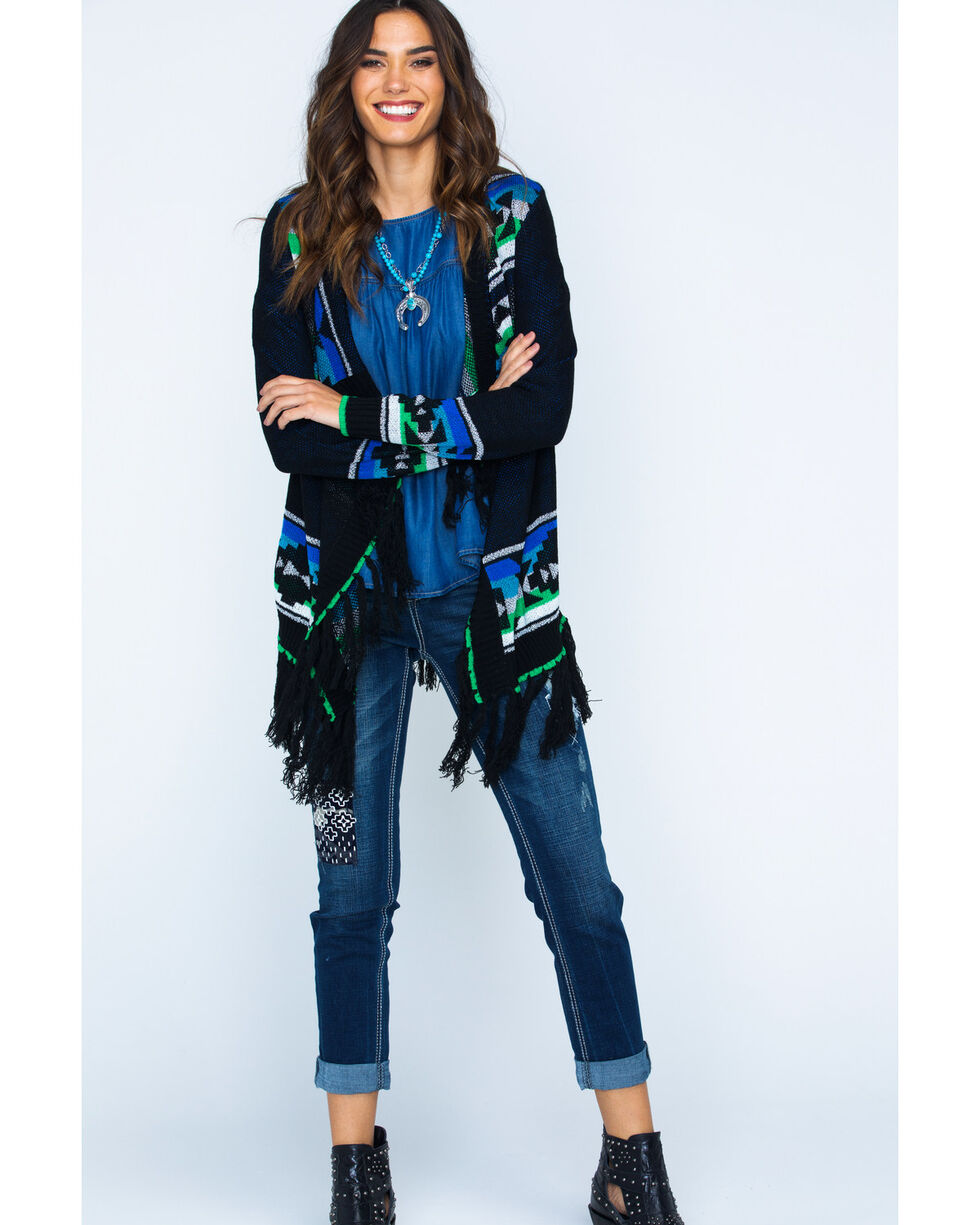 Powder River Women's Fringe Aztec Cardigan, Black, hi-res