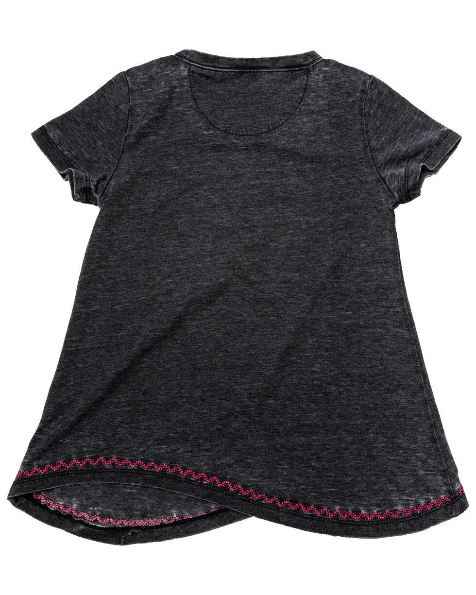 Cowgirl Hardware Girls' Watercolor Horse Short Sleeve Shirt, Black, hi-res