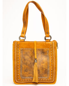 Montana West Women's Tooled Whipstitch Tote, Brown, hi-res