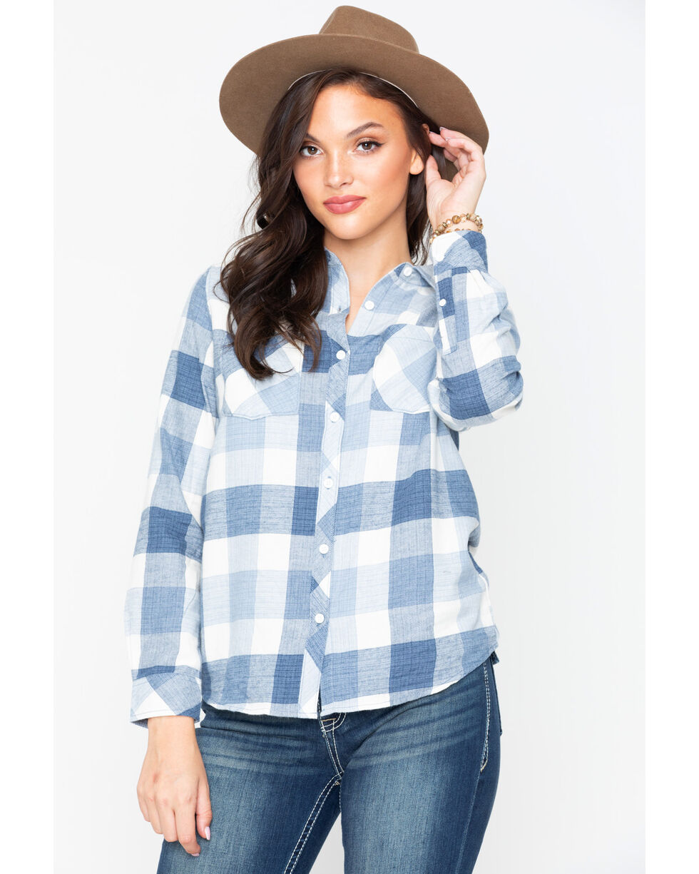 North River Women's Buffalo Plaid Brushed Flannel Top , Blue, hi-res