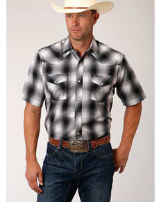 Roper Men's Black Large Ombre Plaid Short Sleeve Western Shirt , Black, hi-res