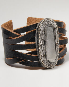 Cowgirl Confetti Women's Eccentric Weave Cuff, Black, hi-res
