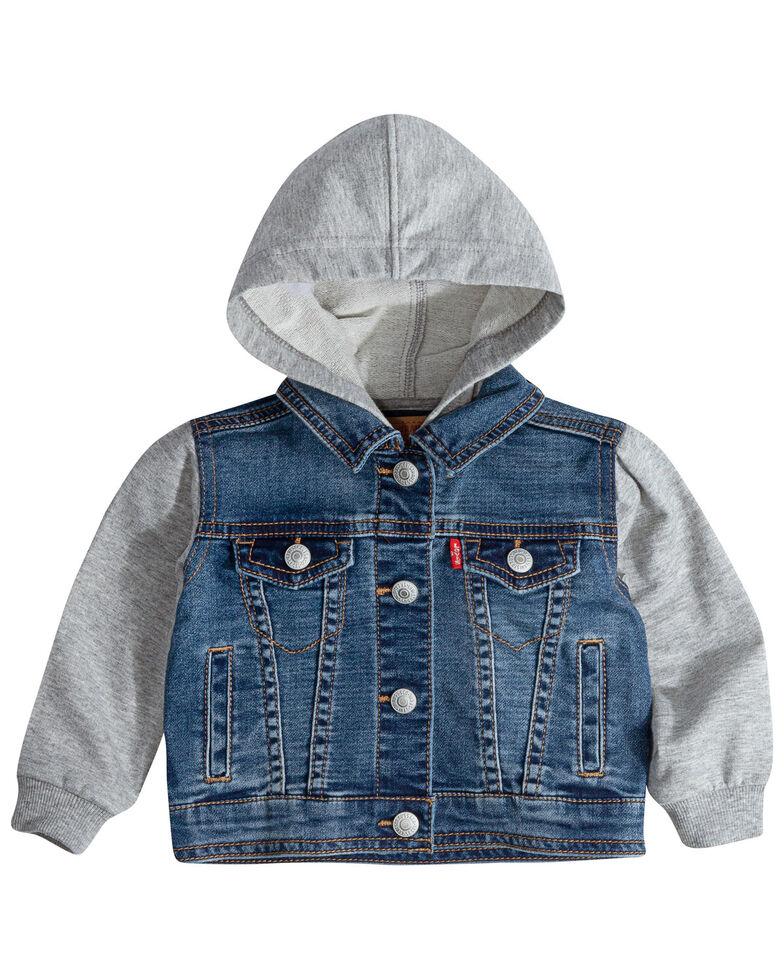 Levi's Infant Boys' Contrast Denim Button-Front Hooded Jacket , Blue, hi-res