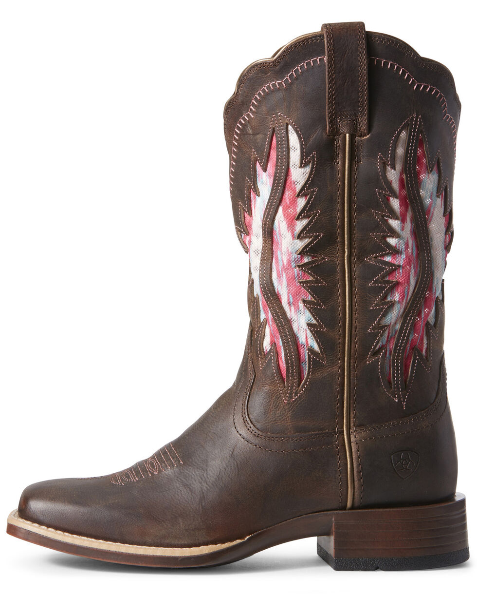 Ariat Women's VentTEK Solana Western Boots - Wide Square Toe, Brown, hi-res