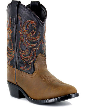 Cody James® Little Boys' Embroidered Two Toned Western Boots, Brown, hi-res