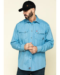 Ariat Men's FR Tungsten Geo Print Long Sleeve Work Shirt - Big , Blue, hi-res