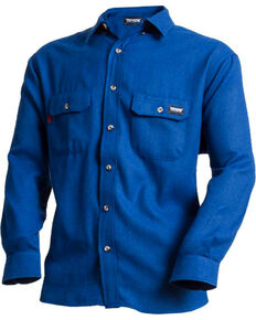 Tecgen Men's Blue FR Deluxe Long Sleeve Work Shirt , Royal Blue, hi-res