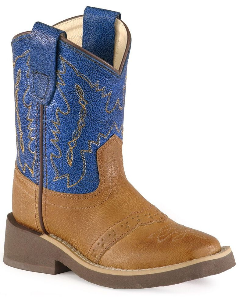 Old West Toddlers' Crepe Sole Cowboy Boots - Square Toe, Tan, hi-res