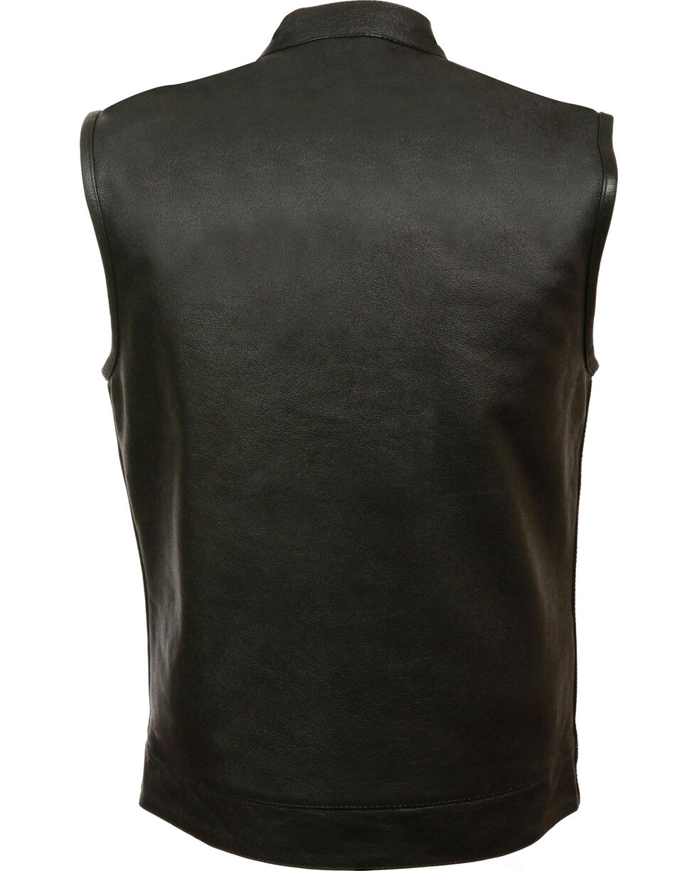 Milwaukee Leather Men's Open Neck Club Style Vest - 4X, Black, hi-res
