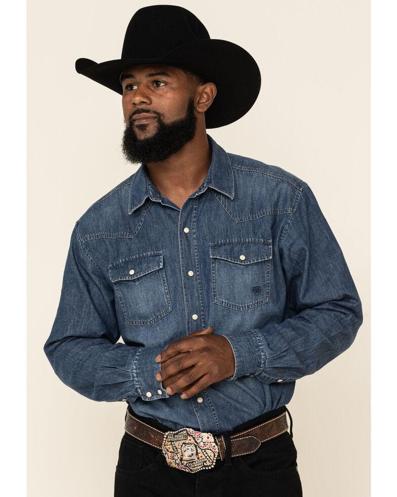 Ariat Men's Retro Stone Washed Denim Long Sleeve Western Shirt , Blue, hi-res