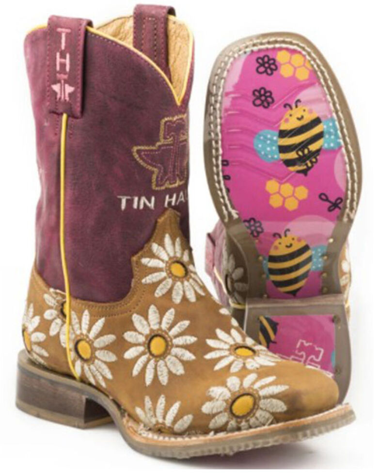 Tin Haul Girls' Lil Blossom Western Boots - Square Toe, Brown, hi-res