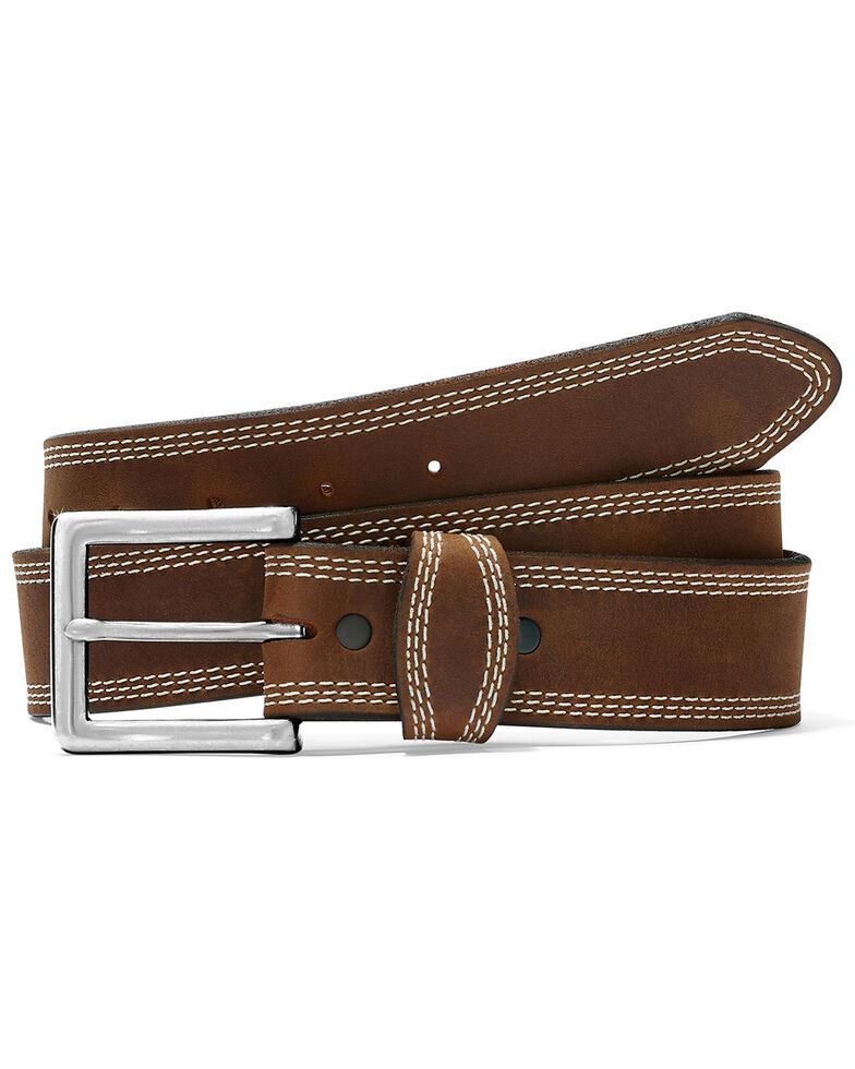 Justin Men's Brown Triple Stitch Classic Western Belt, Brown, hi-res
