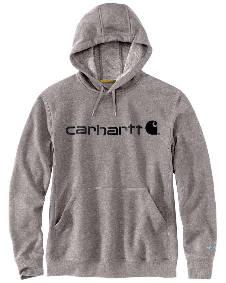Carhartt Men's Grey Force Delmont Signature Graphic Hooded Work Sweatshirt - Big , Grey, hi-res