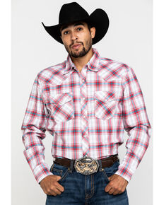 Wrangler 20X Men's Advanced Comfort Red Plaid Long Sleeve Western Shirt , Red, hi-res