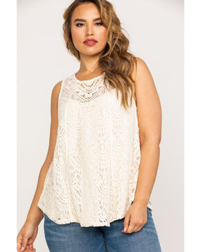 Eyeshadow Clothing Women's Crochet Lace Tank - Plus , Ivory, hi-res