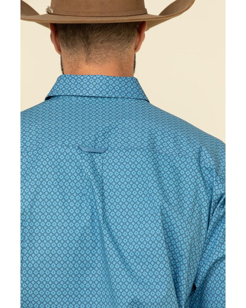 Tuf Cooper Men's Blue Stretch Poplin Geo Print Long Sleeve Western Shirt , Blue, hi-res