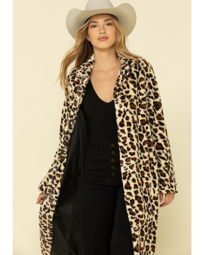 Cripple Creek Women's Leopard Faux Fur Long Coat, Leopard, hi-res