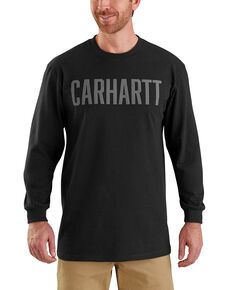 Carhartt Men's Workwear Block Logo Long Sleeve T-Shirt , Black, hi-res