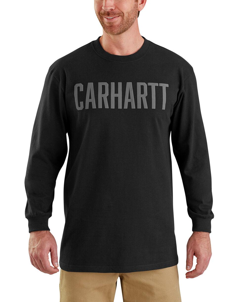 Carhartt Men's Workwear Block Logo Long Sleeve T-Shirt , Black, hi-res